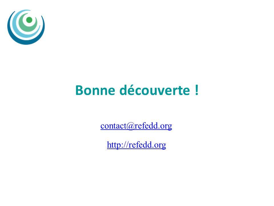 Bonne découverte ! http://refedd.org contact@refedd.org