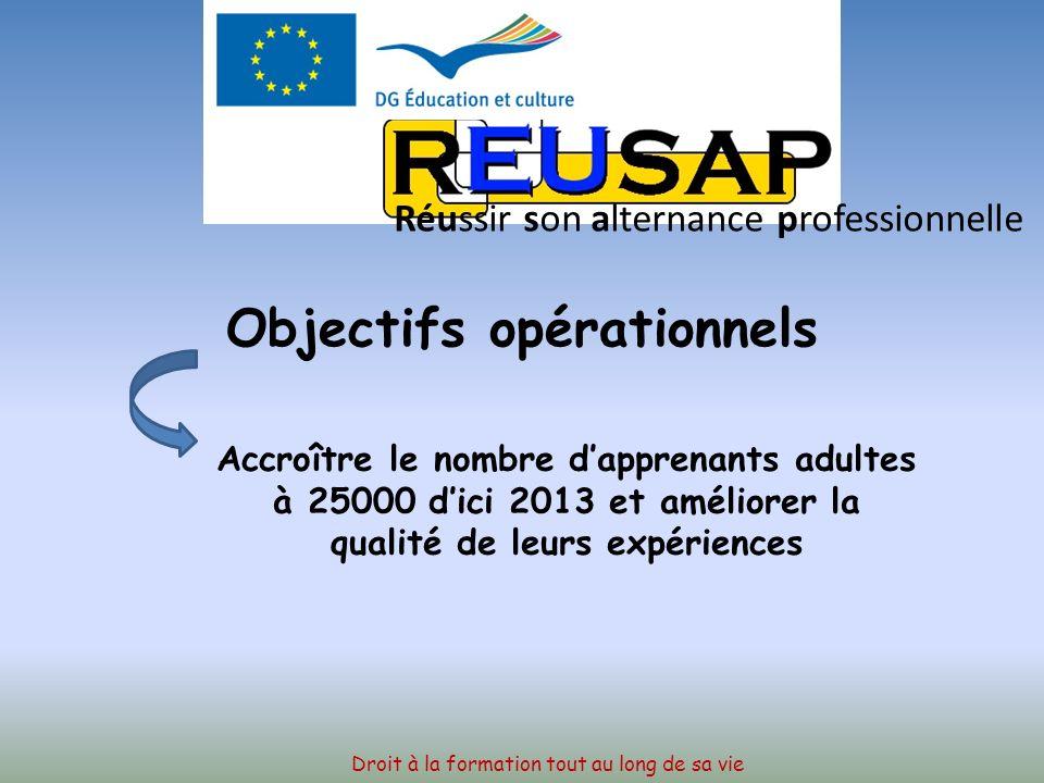 OBJECTIFS OPERATIONNELS Améliorer la qualité et laccessibilité de la mobilité des adultes concernés par la formation professionnelle dans toute lEurope de manière à soutenir la mobilité dau moins 7000 personnes par an au plus tard en 2013 Droit à la formation tout au long de sa vie Réussir son alternance professionnelle
