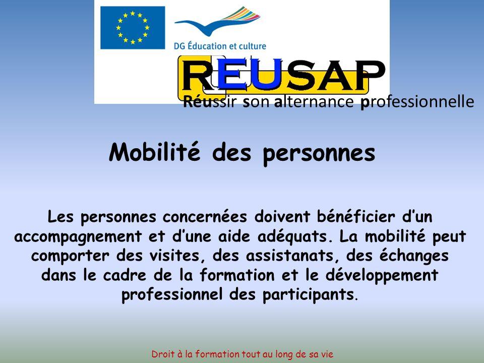 ACTIONS VISEES La mobilité des personnes Les partenariats Les projets multilatéraux Les réseaux thématiques Droit à la formation tout au long de sa vie Réussir son alternance professionnelle