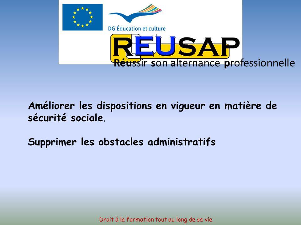 Droit à la formation tout au long de sa vie Réussir son alternance professionnelle Nouveau plan daction de LUnion Européenne pour la mobilité de lempl