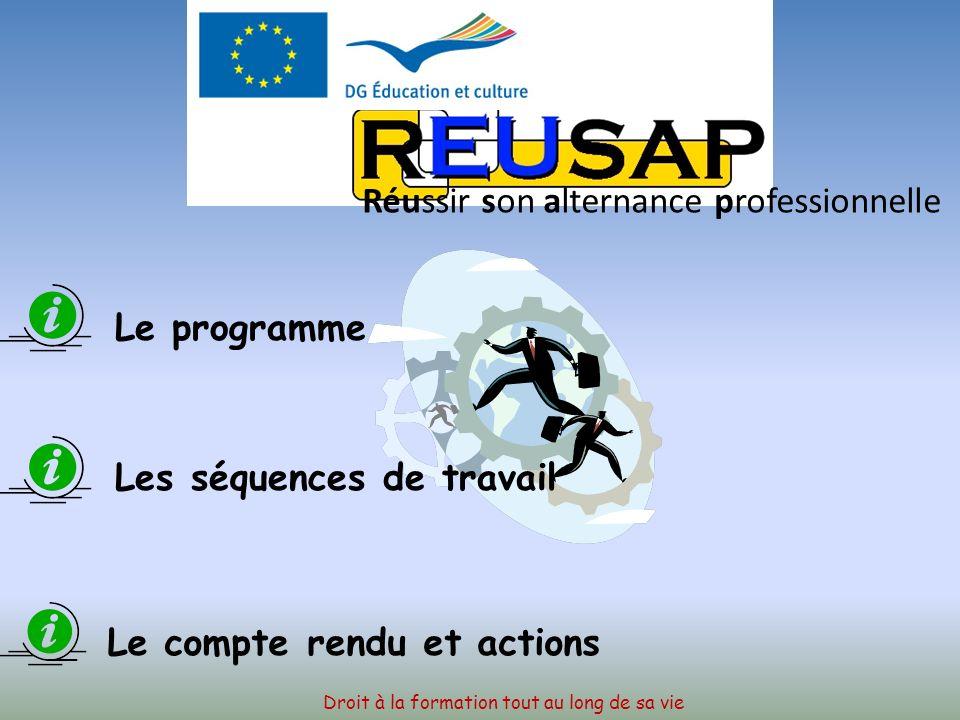 Droit à la formation tout au long de sa vie Réussir son alternance professionnelle AVIGNON (France) Ecole Hôtelière Du 16 au 20 Mars 2009