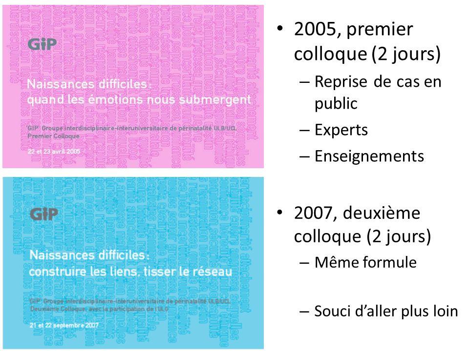 2005, premier colloque (2 jours) – Reprise de cas en public – Experts – Enseignements 2007, deuxième colloque (2 jours) – Même formule – Souci daller plus loin