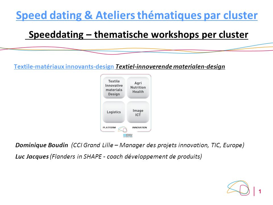 1 Speed dating & Ateliers thématiques par cluster Speeddating – thematische workshops per cluster Textile-matériaux innovants-design Textiel-innoveren