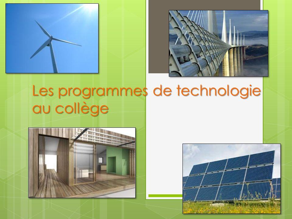 Les programmes de technologie au collège