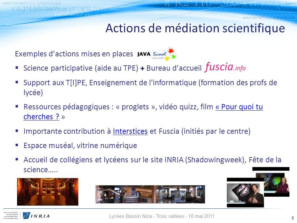 Lycées Bassin Nice - Trois vallées - 16 mai 2011 8 Actions de médiation scientifique Exemples dactions mises en places + Science participative (aide a