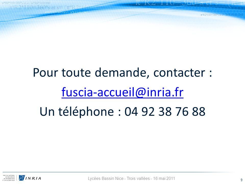 Pour toute demande, contacter : fuscia-accueil@inria.fr Un téléphone : 04 92 38 76 88 Lycées Bassin Nice - Trois vallées - 16 mai 2011 9