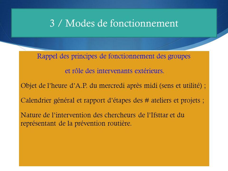 3 / Modes de fonctionnement Rappel des principes de fonctionnement des groupes et rôle des intervenants extérieurs.