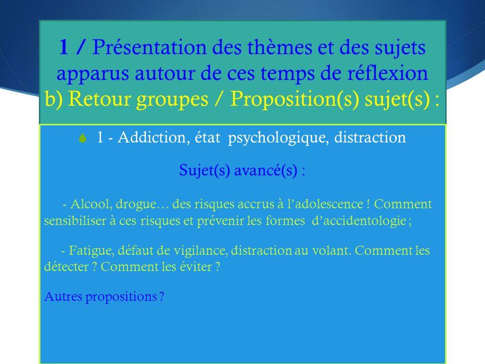 1 / Présentation des thèmes et des sujets apparus autour de ces temps de réflexion b) Retour groupes / Proposition(s) sujet(s) : 1 - Addiction, état psychologique, distraction Sujet(s) avancé(s) : - Alcool, drogue… des risques accrus à ladolescence .