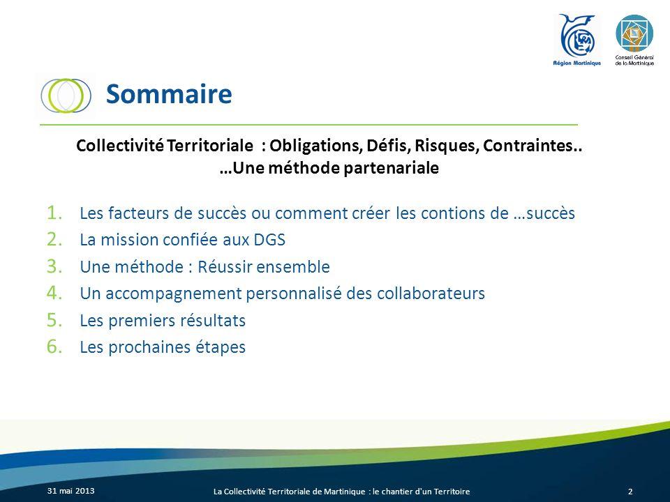 Sommaire 1. Les facteurs de succès ou comment créer les contions de …succès 2. La mission confiée aux DGS 3. Une méthode : Réussir ensemble 4. Un acco