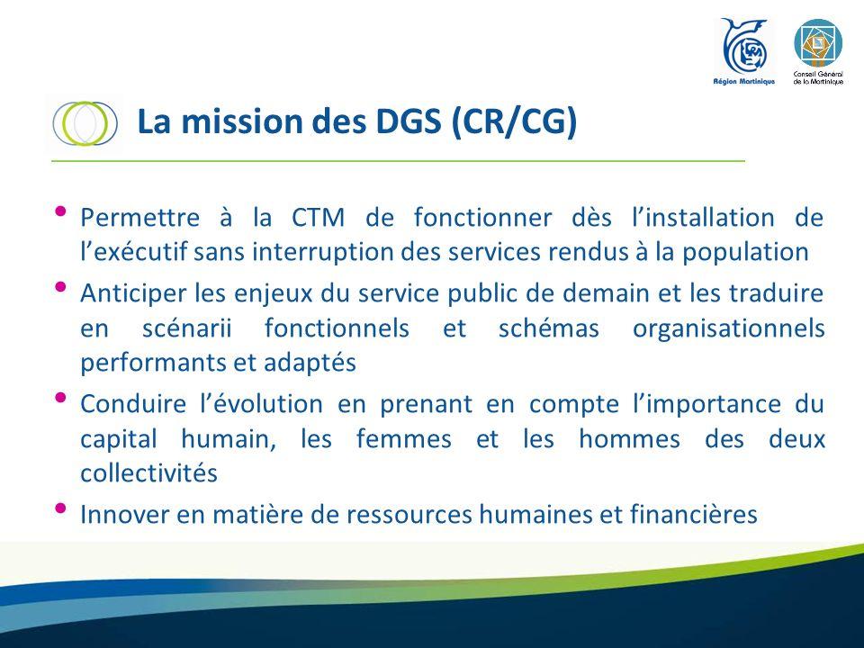 La mission des DGS (CR/CG) Permettre à la CTM de fonctionner dès linstallation de lexécutif sans interruption des services rendus à la population Anti