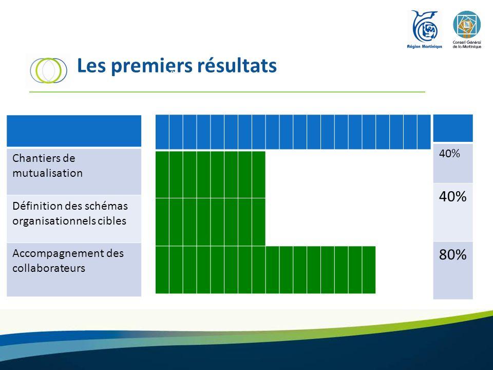 Les premiers résultats Chantiers de mutualisation Définition des schémas organisationnels cibles Accompagnement des collaborateurs 40% 80% 0% 100%