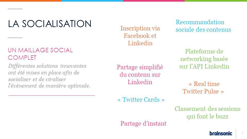 LA SOCIALISATION 8 EXEMPLE 1 : INSCRIPTION VIA FACEBOOK ET LINKEDIN – Sinscrire à lévénement devient plus simple que jamais grâce aux réseaux sociaux