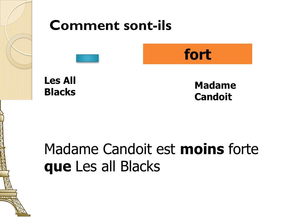 Comment sont-ils fort Les All Blacks Madame Candoit Madame Candoit est moins forte que Les all Blacks