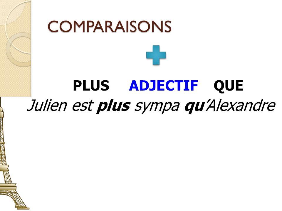 COMPARAISONS PLUSADJECTIFQUE Julien est plus sympa quAlexandre