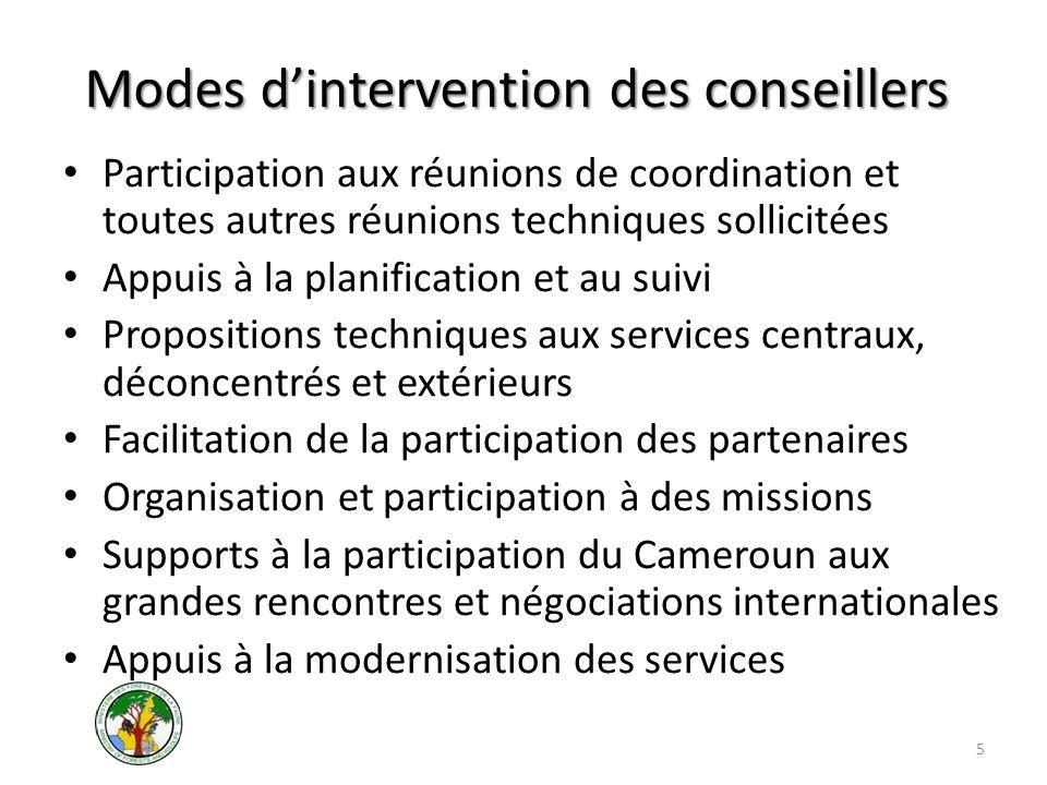 Modes dintervention des conseillers Participation aux réunions de coordination et toutes autres réunions techniques sollicitées Appuis à la planificat