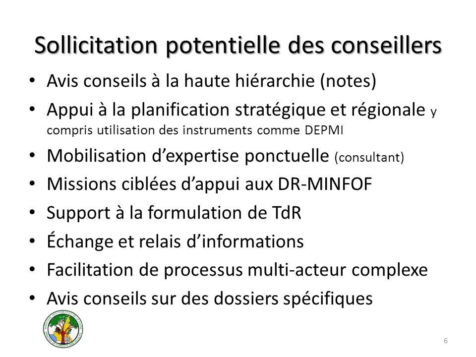 Sollicitation potentielle des conseillers Avis conseils à la haute hiérarchie (notes) Appui à la planification stratégique et régionale y compris util