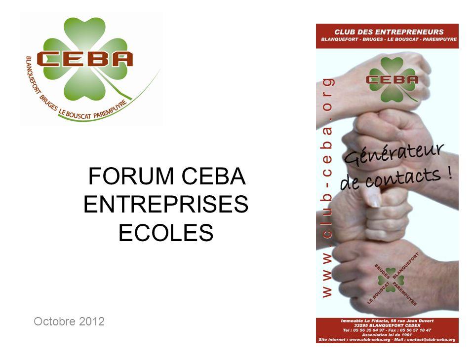 FORUM CEBA ENTREPRISES ECOLES Octobre 2012