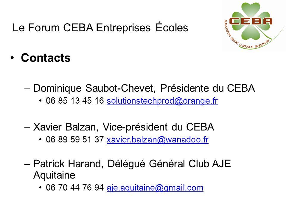Contacts –Dominique Saubot-Chevet, Présidente du CEBA 06 85 13 45 16 solutionstechprod@orange.frsolutionstechprod@orange.fr –Xavier Balzan, Vice-prési