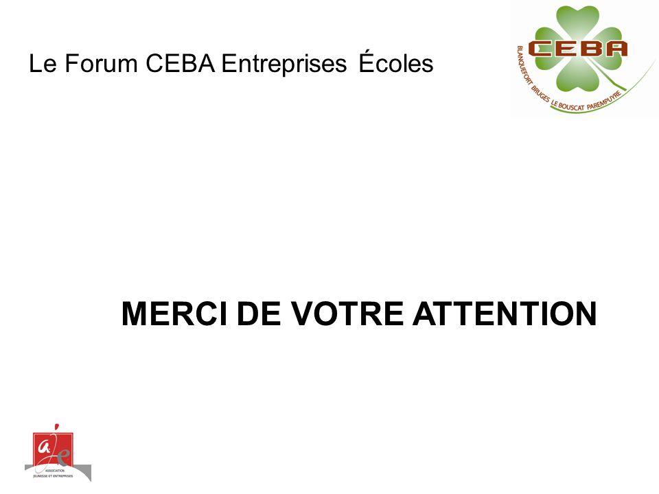 MERCI DE VOTRE ATTENTION Le Forum CEBA Entreprises Écoles