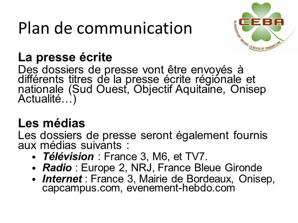Plan de communication La presse écrite Des dossiers de presse vont être envoyés à différents titres de la presse écrite régionale et nationale (Sud Ou
