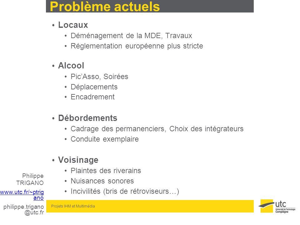 Philippe TRIGANO www.utc.fr/~ptrig ano philippe.trigano @utc.fr Projets IHM et Multimédia Problème actuels Locaux Déménagement de la MDE, Travaux Régl