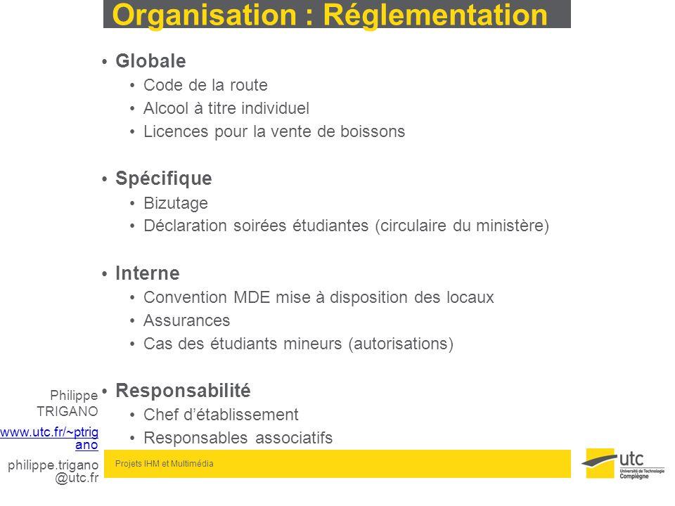 Philippe TRIGANO www.utc.fr/~ptrig ano philippe.trigano @utc.fr Projets IHM et Multimédia Organisation : Réglementation Globale Code de la route Alcoo