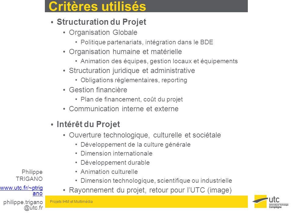 Philippe TRIGANO www.utc.fr/~ptrig ano philippe.trigano @utc.fr Projets IHM et Multimédia Critères utilisés Structuration du Projet Organisation Globa