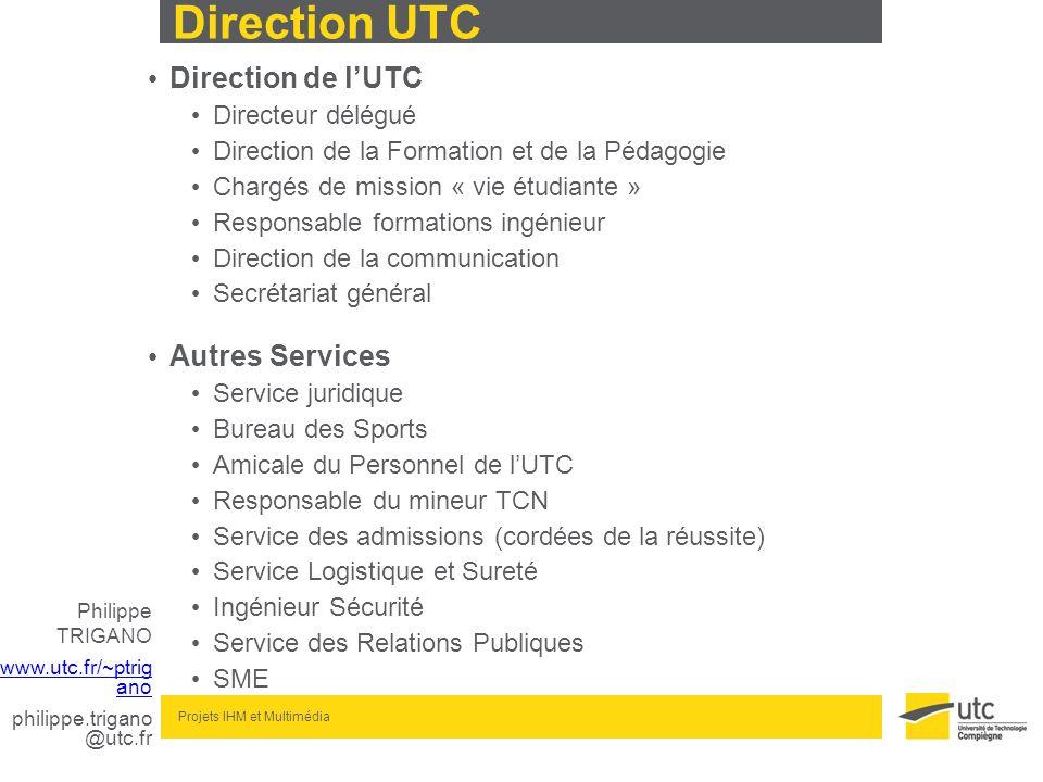 Philippe TRIGANO www.utc.fr/~ptrig ano philippe.trigano @utc.fr Projets IHM et Multimédia Direction UTC Direction de lUTC Directeur délégué Direction