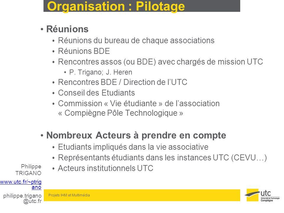 Philippe TRIGANO www.utc.fr/~ptrig ano philippe.trigano @utc.fr Projets IHM et Multimédia Organisation : Pilotage Réunions Réunions du bureau de chaqu