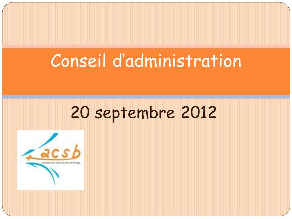 20 septembre 2012 Conseil dadministration