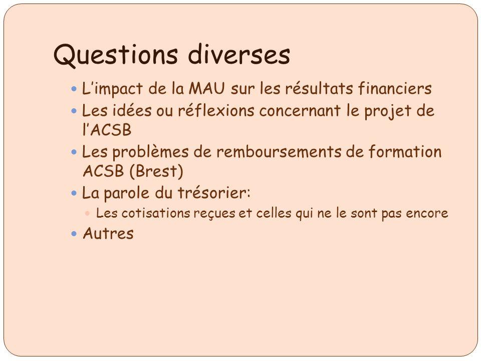 Questions diverses Limpact de la MAU sur les résultats financiers Les idées ou réflexions concernant le projet de lACSB Les problèmes de remboursement