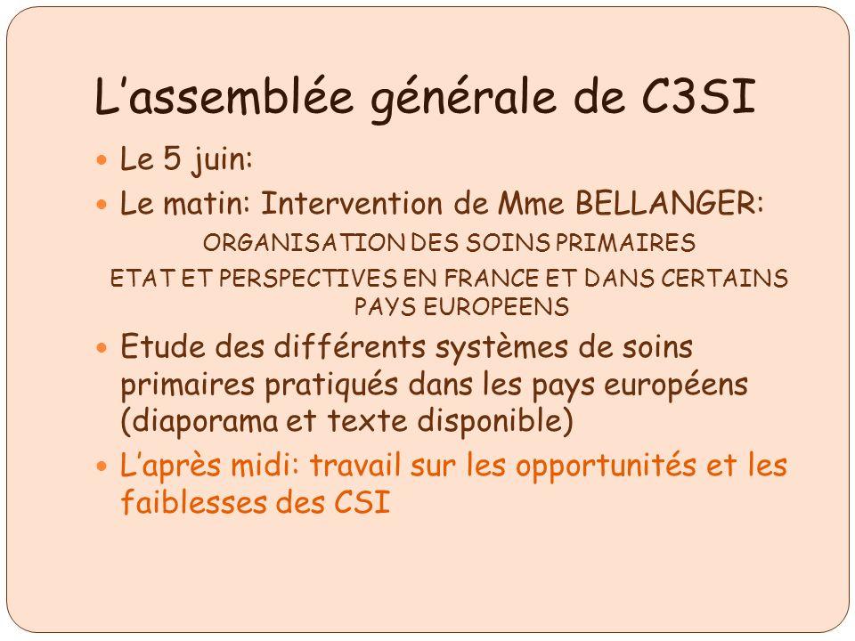 Lassemblée générale de C3SI Le 5 juin: Le matin: Intervention de Mme BELLANGER: ORGANISATION DES SOINS PRIMAIRES ETAT ET PERSPECTIVES EN FRANCE ET DAN