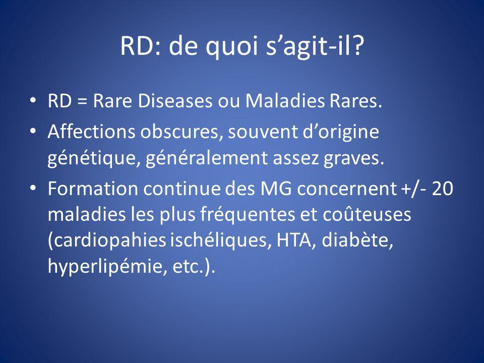 RD: de quoi sagit-il. RD = Rare Diseases ou Maladies Rares.