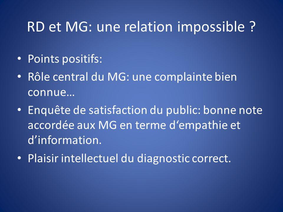 RD et MG: une relation impossible ? Points positifs: Rôle central du MG: une complainte bien connue… Enquête de satisfaction du public: bonne note acc