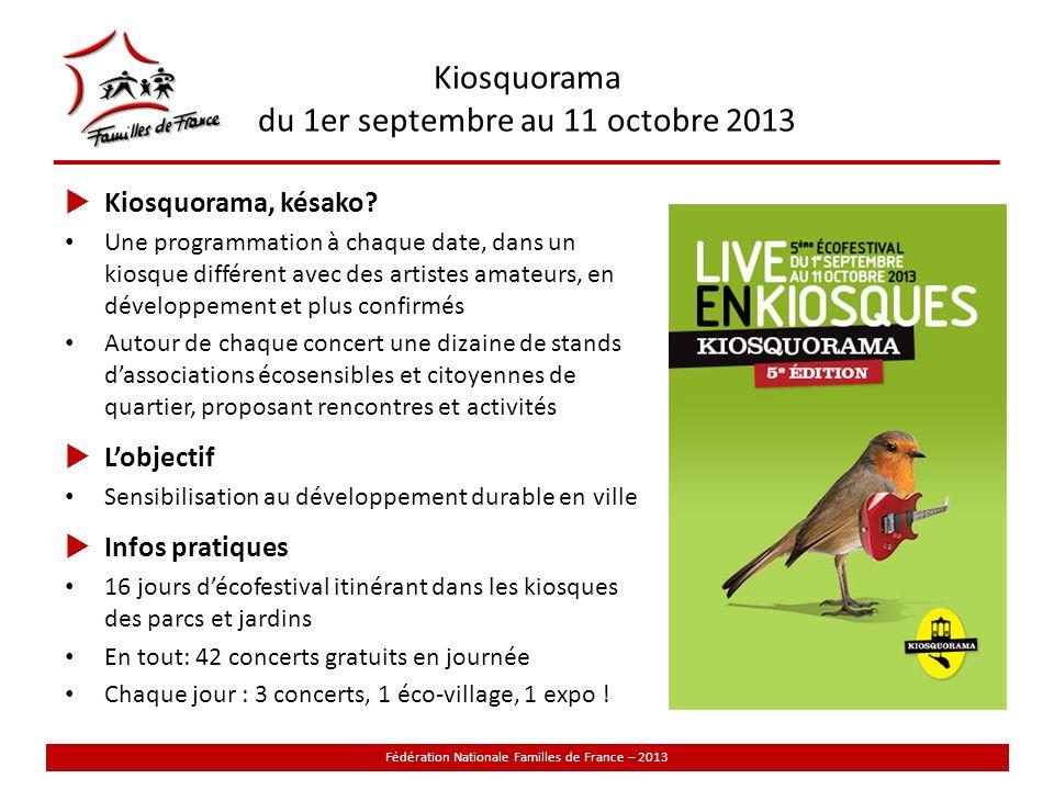 Kiosquorama du 1er septembre au 11 octobre 2013 Fédération Nationale Familles de France – 2013 Kiosquorama, késako.