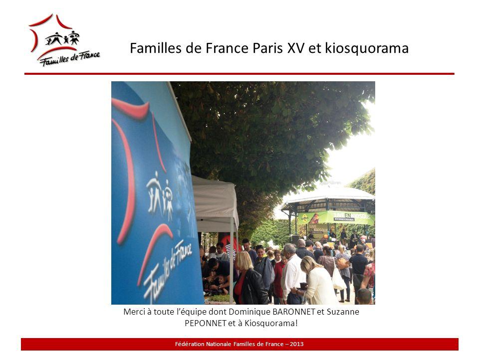 Familles de France Paris XV et kiosquorama Fédération Nationale Familles de France – 2013 Merci à toute léquipe dont Dominique BARONNET et Suzanne PEPONNET et à Kiosquorama!