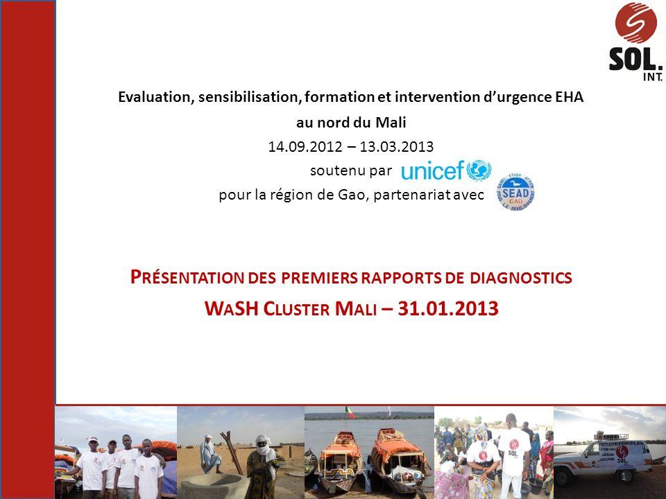 Evaluation, sensibilisation, formation et intervention durgence EHA au nord du Mali 14.09.2012 – 13.03.2013 soutenu par pour la région de Gao, partena