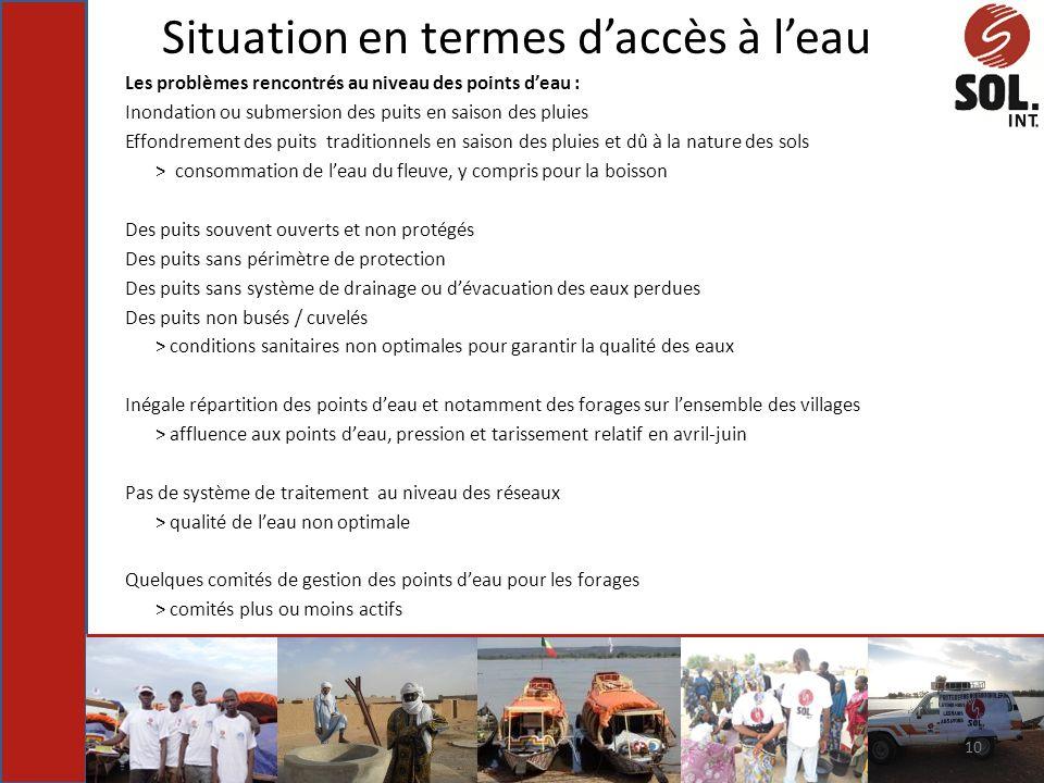 Situation en termes daccès à leau Les problèmes rencontrés au niveau des points deau : Inondation ou submersion des puits en saison des pluies Effondr