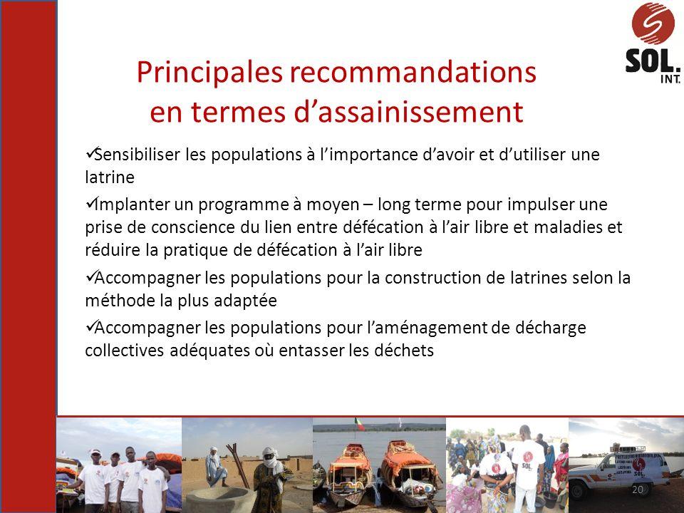 Principales recommandations en termes dassainissement Sensibiliser les populations à limportance davoir et dutiliser une latrine Implanter un programm