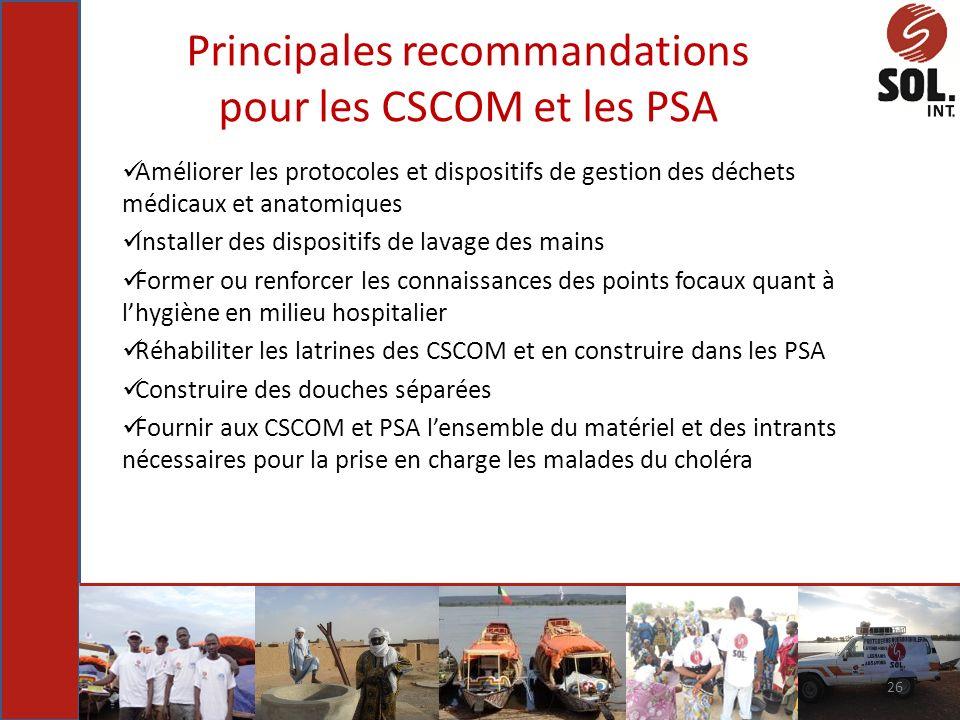 Principales recommandations pour les CSCOM et les PSA Améliorer les protocoles et dispositifs de gestion des déchets médicaux et anatomiques Installer