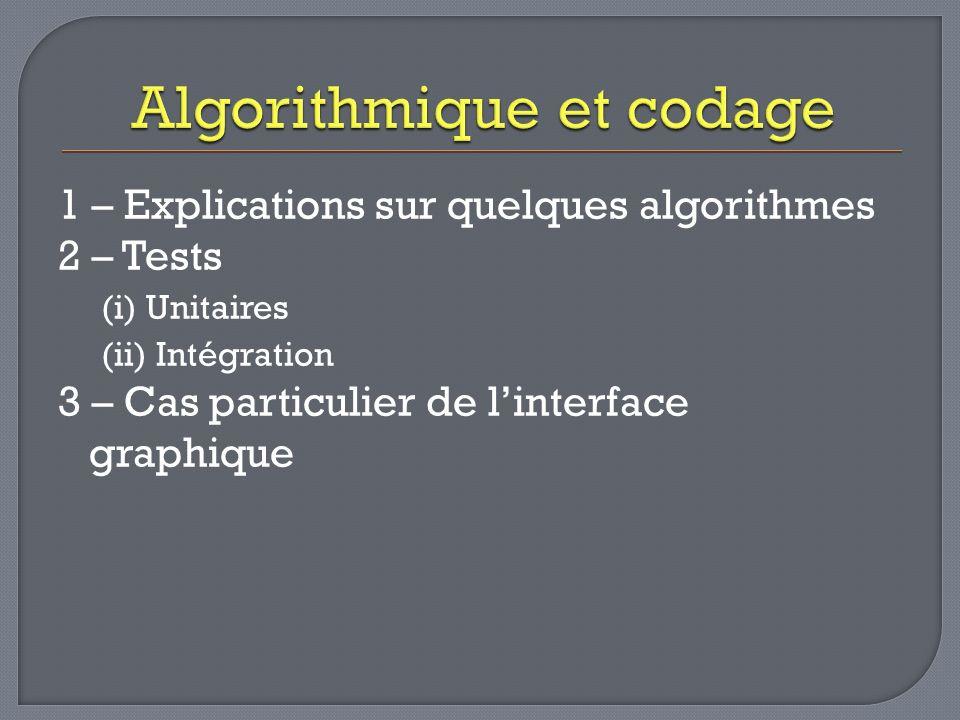 1 – Explications sur quelques algorithmes 2 – Tests (i) Unitaires (ii) Intégration 3 – Cas particulier de linterface graphique