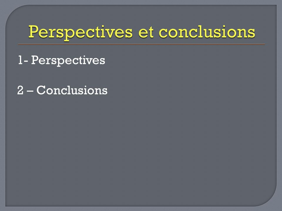 1- Perspectives 2 – Conclusions