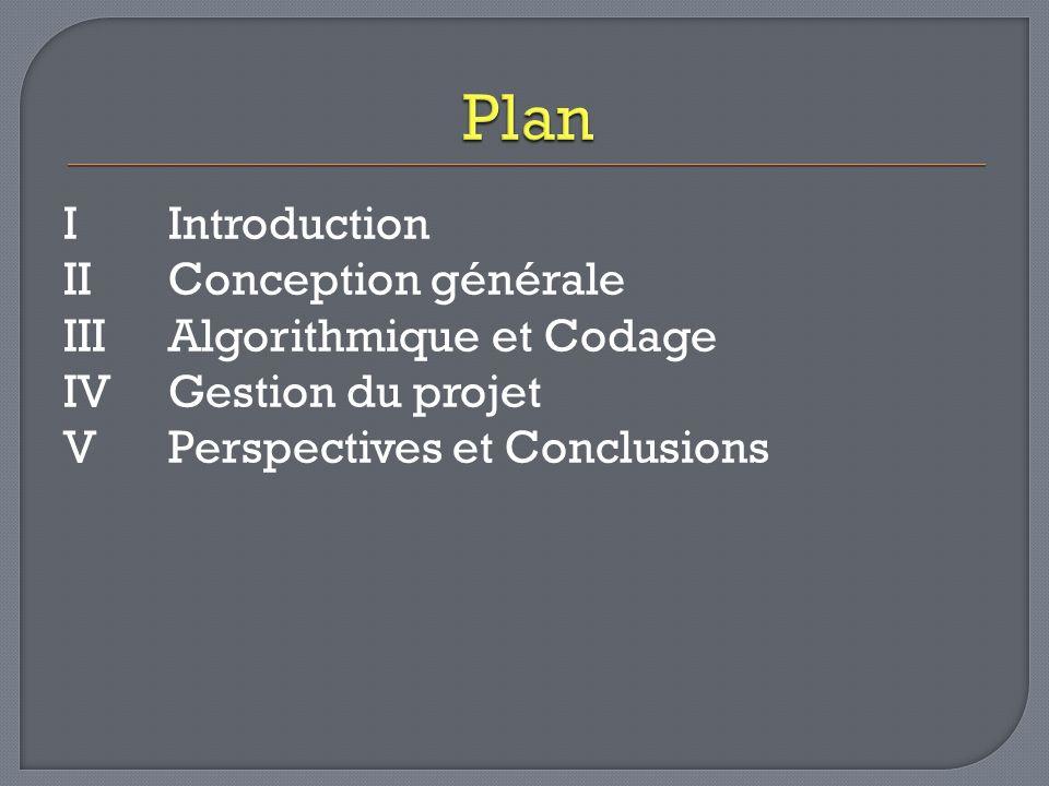 IIntroduction IIConception générale III Algorithmique et Codage IVGestion du projet V Perspectives et Conclusions