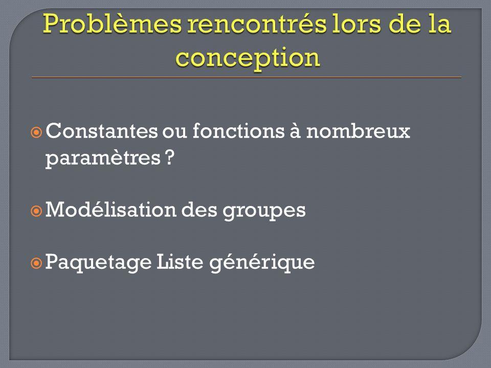 Constantes ou fonctions à nombreux paramètres Modélisation des groupes Paquetage Liste générique