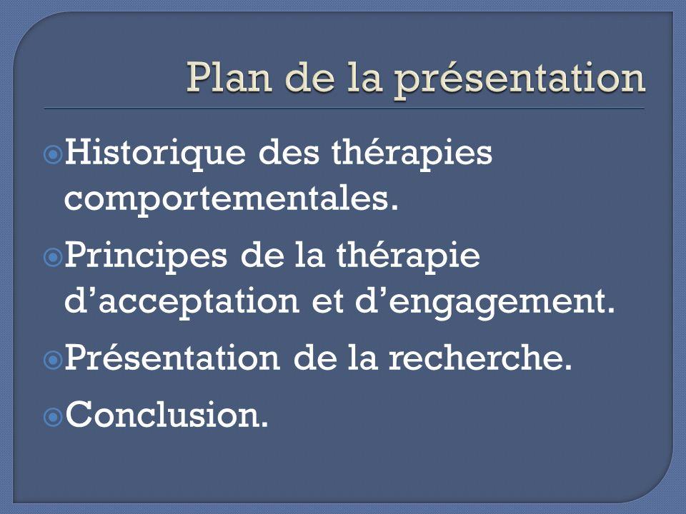 La thérapie comportementale La thérapie cognitive comportementale La troisième vague de thérapie comportementale La pleine conscience