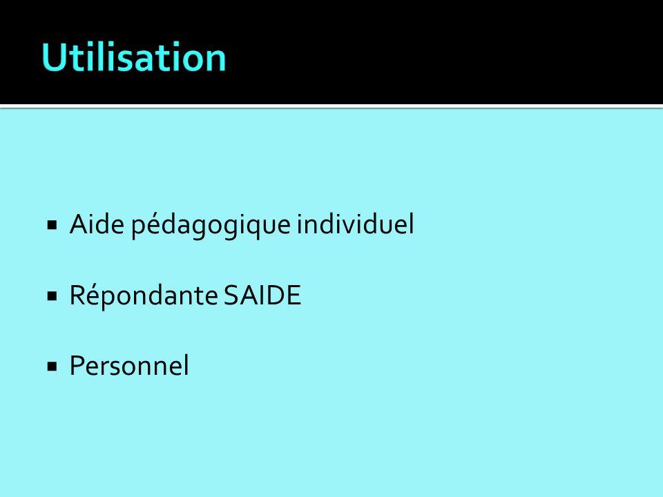 Aide pédagogique individuel Répondante SAIDE Personnel
