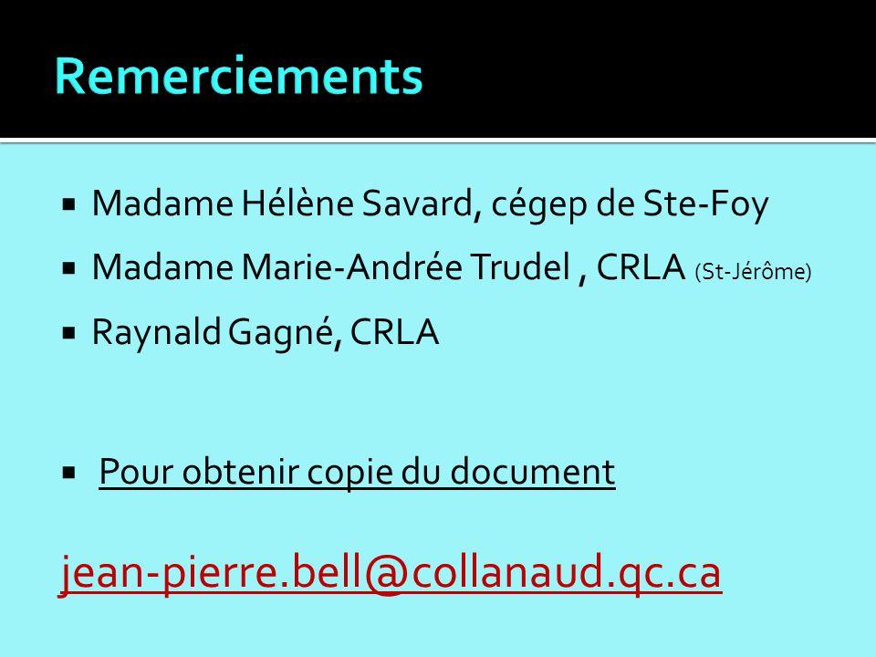 Madame Hélène Savard, cégep de Ste-Foy Madame Marie-Andrée Trudel, CRLA (St-Jérôme) Raynald Gagné, CRLA Pour obtenir copie du document jean-pierre.bell@collanaud.qc.ca