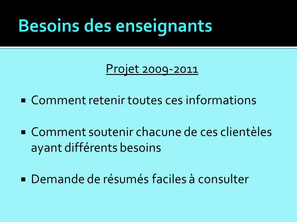 Projet 2009-2011 Comment retenir toutes ces informations Comment soutenir chacune de ces clientèles ayant différents besoins Demande de résumés faciles à consulter