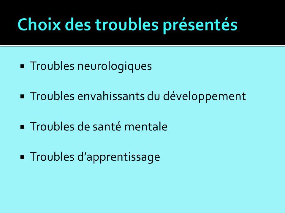 Troubles neurologiques Troubles envahissants du développement Troubles de santé mentale Troubles dapprentissage
