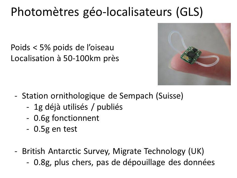 -Station ornithologique de Sempach (Suisse) -1g déjà utilisés / publiés -0.6g fonctionnent -0.5g en test -British Antarctic Survey, Migrate Technology (UK) -0.8g, plus chers, pas de dépouillage des données Photomètres géo-localisateurs (GLS) Poids < 5% poids de loiseau Localisation à 50-100km près